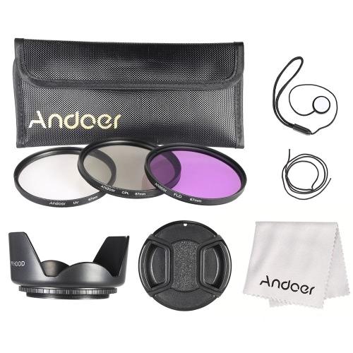 Andoer Kit de filtro de 67mm (UV + CPL + FLD) + Nylon lleva bolsa tapa de la lente titular de tapa lente + parasol + lente paño de limpieza