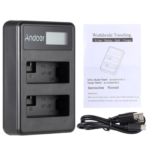 Andoer LP-E8 Rechargeable LED Display Li-ion Battery Charger Pack 2-Slot USB Cable Kit for Canon Rebel T3i T5i T4i T2i EOS 600D 550D 700D 650D Kiss X5 X4 Digital SLR Camera