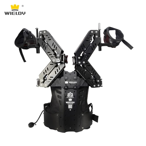 Wieldy HD-8900 Exoskeleton Steadycam Vest Stabilizer Camera DSLR Video Vest with Double Handle Dual-Damping Arm Max Load 20Kg