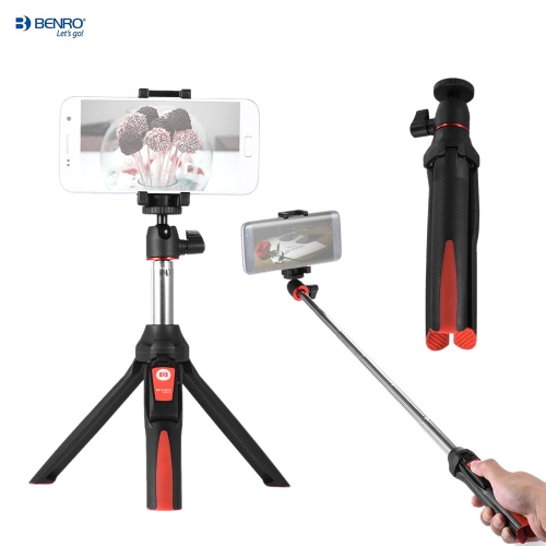 Benro MK10 Handheld Extendable Mini Tripod Selfie Stick with BT Remote Control Shutter for IOS iPhone 5s/6s/6s Plus & Android Smartphone Cellphone for Gopro