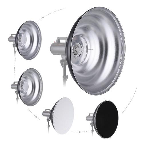Bowensのマウントストロボスタジオフラッシュライト用ハニカム柔らかい布二つのミニリフレクター写真アクセサリと70センチメートル/ 27.6インチ振っビューティーディッシュリフレクター