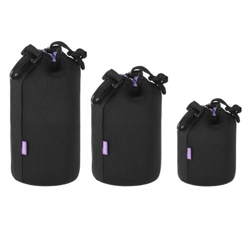 DSLR Andoer antichoc résistant à l'eau Objectif Kit Pouch (S + M + L) Extra épais sac souple étui de protection Protector Set pour Canon Nikon Sony Tamron Objectif
