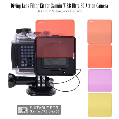 Diving Lens Filter Kit for Garmin VIRB Ultra 30 Action Camera Used with Waterproof Housing