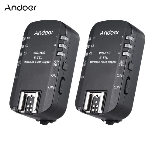 Andoer WS-16C E-TTL Bezprzewodowy wyzwalacz Transceiver 2.4GHz 1 / 8000s High Speed Sync dla Canon 5D Mark Ⅲ, 1Ds Mark Ⅲ, 1D Mark Ⅲ 60D 50D 650D 600D 550D 500D 450D 1100D 600EX (RT) 580EXⅡ 430EXⅡ 320EX 270EX (Ⅱ ) dla YongNuo YN568EX YN565C YN468 (ⅱ) YN467 (ⅱ) YN465C etc