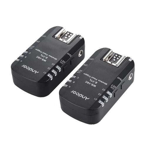 Andoer WS-16C E-TTL disparador de flash sin transmisor-receptor de 2,4 GHz 1 / 8000s Sincronización de Alta Velocidad para Canon 5D Mark Ⅲ, 1Ds Mark Ⅲ, 1D Mark Ⅲ 60D 50D 650D 600D 550D 500D 450D 1100D 600EX (RT) 580EXⅡ 430EXⅡ 320EX 270EX (Ⅱ ) para yongnuo YN568EX YN565C YN468 (ⅱ) YN467 (ⅱ) YN465C etc.