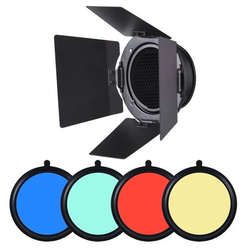 96mm Universal Mount Metal Bardoor Barn Door Barndoor with Honeycomb Grid 4pcs Color Gel Filters for Neewer Godox 180W 250W 300W Andoer MD-250 MD-300 Studio Strobe Flash Light Monolight