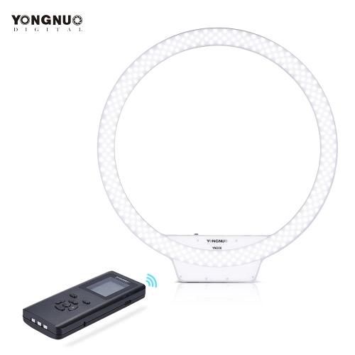YONGNUO YN308 5500K Kolor Wireless Remote LED dzwonka Temperatura Lampa wideo pierścieniowe i Frameless Wygląd projekt regulowanej jasności CRI≥95 ze zdalnym kontrolerem dla portret Live Video selfie