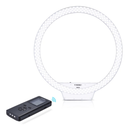 YONGNUO YN308 5500K Color Temperature Wireless Remote LED Ring Video Light Annular and Frameless Appearance Design Adjustable Brightness CRI≥95 with Remote Controller for Portrait Live Video Selfie