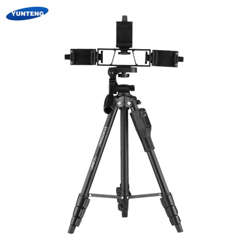 YUNTENG VCT-6808 Multi-functional Tripod for Phone with 3 Phone Holders Portable Aluminum Alloy 4-Section Telescoping Tripod with 3-Way Damping Ball Head Remote Controller Max Load Capacity 2kg for Live Show Video Creation