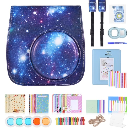 13 in 1 Accessories Kit for Fujifilm Instax Mini 8/8+/8s/9 Include Camera Case/Strap/Sticker/Selfie Lens/Colored Filter/Album/Photo Frame/Border Sticker/ Corner Sticker/Pen