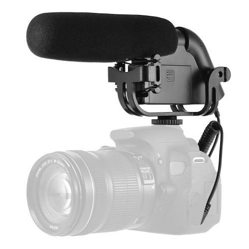 """BOYA BY-VM190 Microphone à condensateur monté sur caméra Super-cardioïde professionnel Monture à vis 1/4 """"Montage par choc intégré pour appareil photo numérique Caméscope DV Enregistreurs audio personnels"""