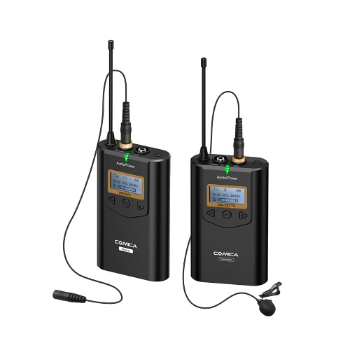 COMICA CVM-WM100 Professional 48 Channels UHF Omni-directional Wireless Lavalier Microphone 100m Working Distance for Nikon Sony Canon 5D III, 5D II ,6D for Panasonic GH5,GH4 Camera Camcorder for iPhone Samsung Huawei Smartphones D4863