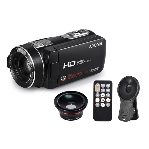 "Andoer HDV-Z80 1080P Cámara de vídeo Full HD 24MP Digital Video con 0.39X Lente Gran Angular + Macro Control Remoto 3 ""Pantalla Táctil LED Luz 10X Zoom Óptico Anti-Shake Face Detect"