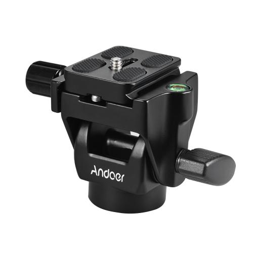 Andoer M-12 Monopod Tilt Head Panoramiczna głowa Teleobiektywowa obserwacja ptaków z 2pcs Quick Release Plate
