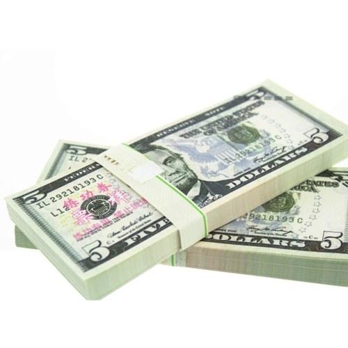 Dénomination 5USD Pack Barre de papier USD Atmosphère Primes Argent pour Movie TV Video Nouveauté Outils de photographie (20Pcs)