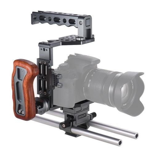 SEVENOAK SK-XC1 Universal DSLR Camera Cage 15mm Rod Baseplate Kit Lega di alluminio con manico in legno Video Film Film Making Stabilizer System
