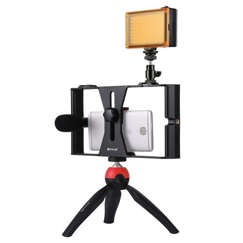 PULUZ Camera Shooting Kit Smartphone Handheld Filmmaking Video Rig +  LED Studio Light + Video Microphone + Mini Tripod Mount Kits with Cold Shoe Tripod Head for Outdoor Shooting Live Broadcast D6112-3