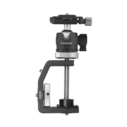 Andoer MFC-60 Heavy Duty Photography Desk Tree Clamp Multifunctional C-shaped Clamp Window Glass Clamp with Andoer Ball Head for GoPro Action Camera for DSLR Camera Max. 60mm Clamping Distance Max. Load 4kg