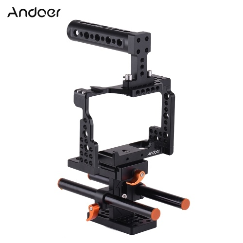 Andoer Camera Cage + Top Handle + 15mm Rod Baseplate Kit Video Film Movie Making Stabilizer Aluminum Alloy with Cold Shoe Mount for Sony A7II/A7III/A7SII/A7M3/A7RII/A7RIII Camera