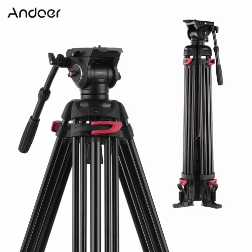 Andoer XTK-8018 Professional Photography Tripod Stand Aluminium Alloy with 360° Panorama Fluid Hydraulic Bowl Head Horseshoe-shaped Feet 180cm Max. Height 10kg Load Capacity for Canon Nikon Sony DSLR Cameras Camcorders