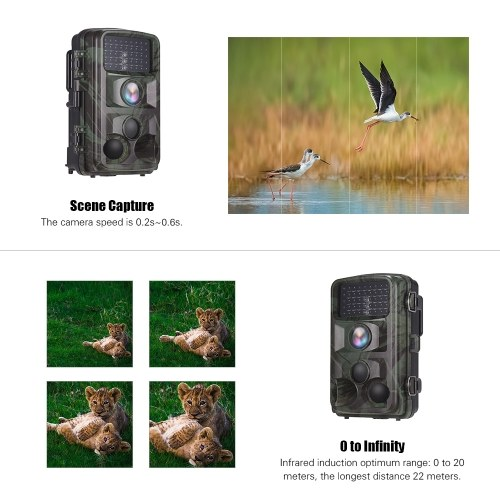 Andoer Digital Trail Camera 12MP 1080P Night Vision Waterproof Scouting Cam for Wildlife Monitoring with 120° Detecting Range Motion Activated 2.4 Inch LCD IR LEDs 3 PIR Lens