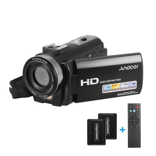 Andoer HDV-201LM 1080P FHD Digitale Videokamera Camcorder DV-Recorder 24MP 16X Digital Zoom 3,0-Zoll-LCD-Bildschirm mit 2-teiligen Akkus