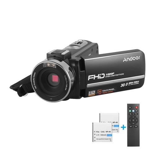 Andoer HDV-301LTRM 1080P FHD Digital Video Camera Camcorder DV Recorder IR Nightshot 30MP 16X Digital Zoom 3.0 Inch LCD Touchscreen with 2pcs Rechargeable Batteries