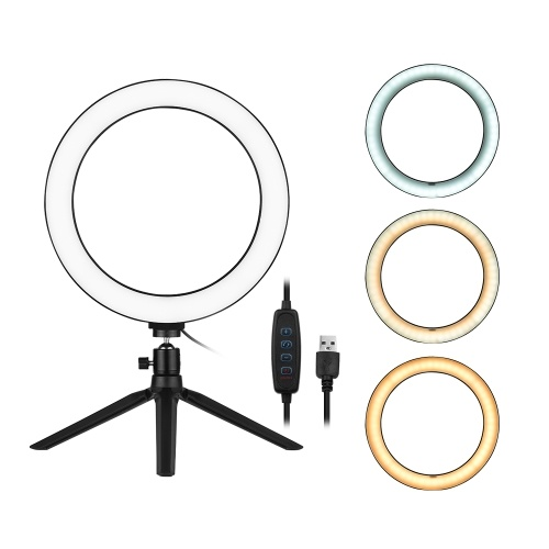 Andoer 10 Inch LED Ring Light with Tripod Stand 3200K-5500K Dimmable Table Camera Light Lamp 3 Light Modes & 10 Brightness Level for YouTube Video Photo Studio Live Stream Portrait Makeup Photography
