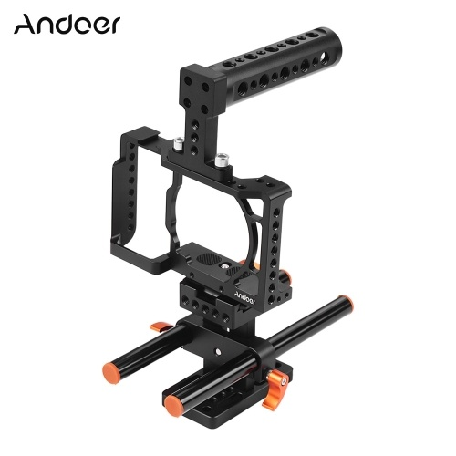 Andoer Camera Cage + Top Handle + 15mm Rod Baseplate Kit Video Film Movie Making Stabilizer Aluminum Alloy 1/4 Inch Screw with Cold Shoe Mount for Sony A6500/A6400/A6300/A6000 Camera