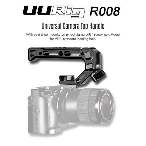 UURig R008 Impugnatura superiore per fotocamera universale Impugnatura fredda per morsetti 15mm Fissaggio per viti 3/8 di pollice Adopt per ARRI Foro di posizionamento standard per luci microfoniche Monitor per telecamera Rig Cage