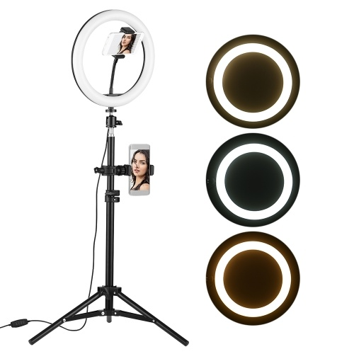 10 Inch Desktop LED Video Ring Light Lamp 3 Lighting Modes Dimmable USB Powered with Phone Holder Ballhead Adapter 80cm Light Stand for YouTube Live Video Recording Network Broadcast Selfie Makeup