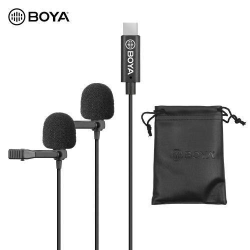 BOYA Omnidirektionales Doppelkopf-Lavalier-Ansteckmikrofon Mikrofon