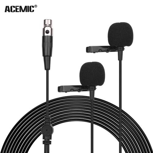 ACEMIC XM2 Doppelkopf-Lavaliermikrofon Clip-on-Kondensator Omnidirektionales Mikrofon 3-poliger Mini-XLR-Stecker 6 m langes Kabel