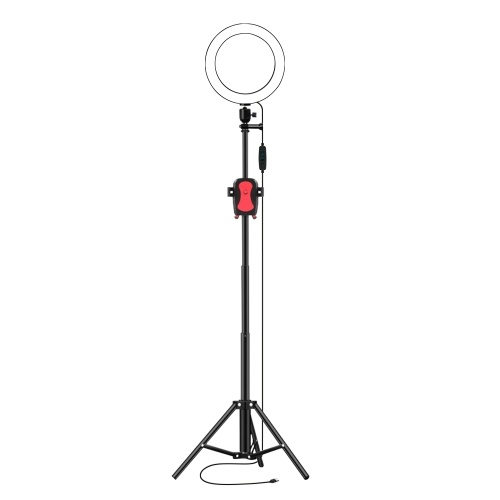16cm/6inch LED Ring Light 3200-5500K 3 Colors 10 Levels Dimmable with Tripod Phone Holder