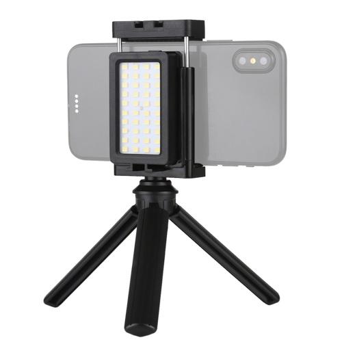 Téléphone portable Live Set Portable Pocket Self-Timer Fill Light & Phone Clamp Bracket Mount & Desktop Tripod