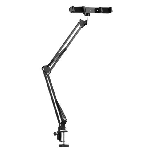 Einstellbare Scherenarmhalterung mit Metallständeraufhängung + zwei Telefonhalterungen + Telefonhalterung + Kugelkopfadapter + Mini-LED-Licht + Fernbedienung