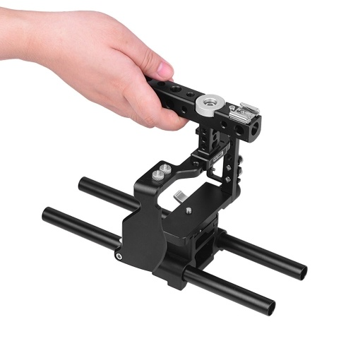 YELANGU Camera Cage with Top handle 15mm Rod Baseplate Kit and Cable Clamp Film Movie Making Video Cage Stabilizer Aviation Aluminum with Cold Shoe Mo