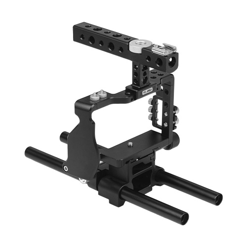 YELANGU Camera Cage with Top handle 15mm Rod Baseplate Kit and Cable Clamp Film Movie Making Video Cage Stabilizer Aviation Aluminum with Cold Shoe Mount