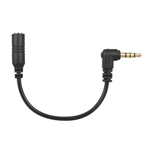 Docooler EY-S04 3,5 mm 3 pôles TRS femelle vers 4 pôles TRRS mâle 90 degrés câble adaptateur de microphone coudé à droite