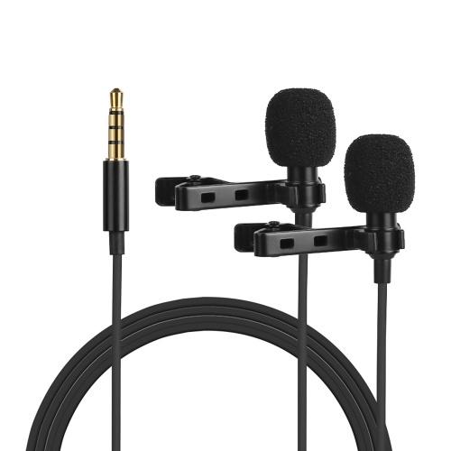 Omnidirektionaler Elektretkondensator Lavalier Mikrofon Doppelkopf mit 3,5 mm TRRS 4 m Kabel