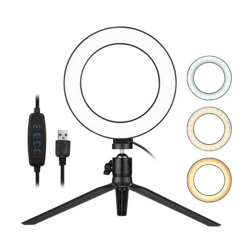6 pouces bureau LED anneau lumière 3200K-5500K Dimmable mini caméra lumière lampe 3 modes d'éclairage 10 niveaux de luminosité