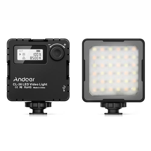 Andoer CL-36 Mini lampe vidéo LED bicolore 2800K-8500K batterie rechargeable intégrée dimmable