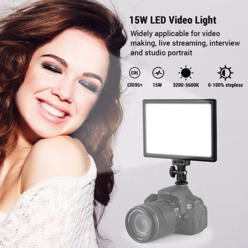 On-camera LED Video Light 15W 3200-5600K CRI95+ Bi-color Stepless Dimmable LCD Display