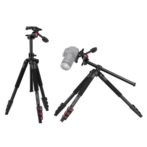 Andoer TTT-007 162 см / 63,8 дюйма выдвижной штатив для видеокамеры из алюминиевого сплава + комплект видеоголовки с 3-сторонним демпфированием Конструкция с откидной пряжкой для горизонтального крепления с сумкой для переноски для зеркальных фотокамер ILDC Макс. Нагрузка 8кг