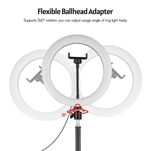 10 Inch Metal LED Ring Light 3 Lighting Modes 10 Levels Brightness USB Powered with 50cm Light Stand + Ballhead Adapter + 2pcs Flexible Phone Holder f