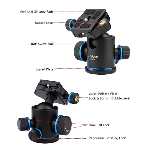 Andoer Aluminum Camera Panoramic Damper Ball Head Tripod Head 10KG Payload 360° Swivel 90° Flip with Quick Release Plate Scaled Plate Dual Bubble Level Universal 1/4in 3/8in Mounting