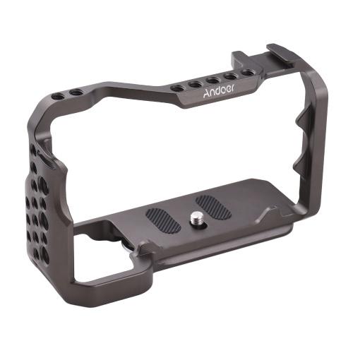Accessoire de photographie de caméra Andoer Cage avec sabot froid 1/4 pouces 3/8 pouces trous de vis de remplacement pour Sony A7C
