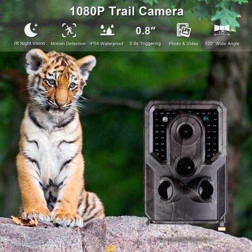 Andoer Wildlife Camera Trial Camera FHD 1080P 120° Wide Angle 0.8s Triggering IR Night Vision IP54 Waterproof 32GB Exterbnal Memory with 1/4 Interface