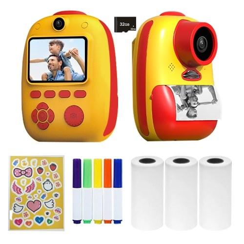 D10 Instant Camera Photo Printer 1080P HD Mini Digital Camera for Kids -Red , 32G TF Card