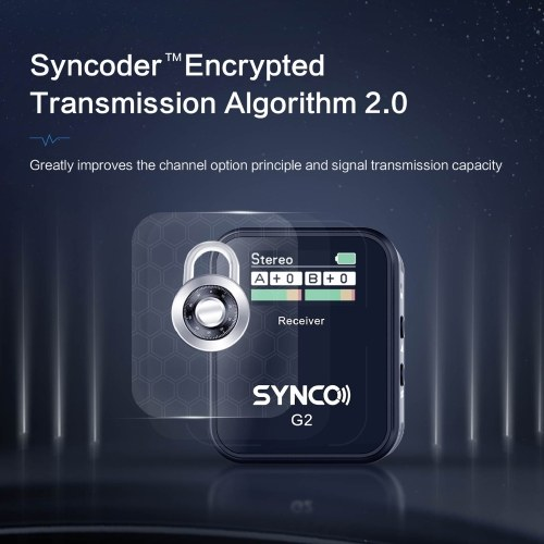 SYNCO G2(A2) 1-Trigger-2 2.4G Wireless Microphone System with 1 Receiver + 2 Transmitters + 2 Lavalier Microphones